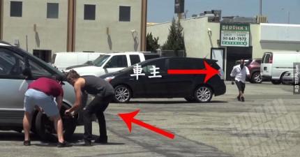 這兩個人假裝偷別人車上的輪胎...包括警察的!