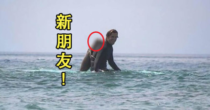 男子衝浪的時候被海浪沖來神奇的新朋友從背後「熊抱」?!