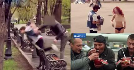 16歲俄羅斯富二代在公園裡給流浪漢錢叫他們喝尿或脫光,結果其中一個狠狠揍了他一拳!