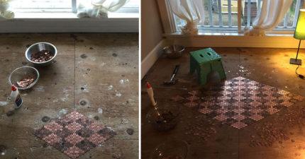 女子靈機一觸用13000枚硬幣打造「超華麗皇室風圖案」DIY地板!