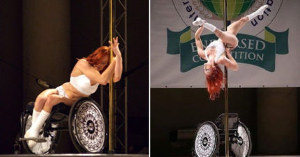 自信輪椅女參加「鋼管舞比賽」,為了證明什麼事情都可能辦到! (影片)
