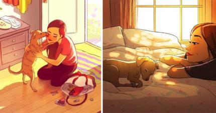 24張「狗狗讓我們生活更有色彩」毛小孩在身邊溫馨插畫