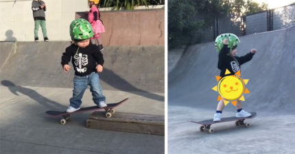 1歲神童吸著奶嘴溜滑板 還超帥氣「翻轉滑板」網友跪了