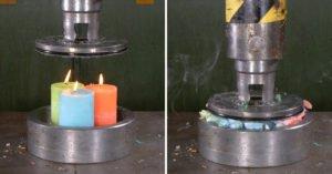 液壓機挑戰「壓蠟燭穿孔」 彩帶式紓壓爆發:好像夢境裡的畫面