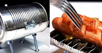 超有才!鐵罐回收再利用 動手玩創意自製「迷你烤肉架」