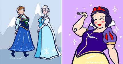 插畫家畫「加大版迪士尼公主」 茉莉小蠻腰變三層鮪魚肚