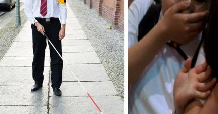 誰摸我?!男子急忙解釋「抱歉我是盲的」被警察直接抓走