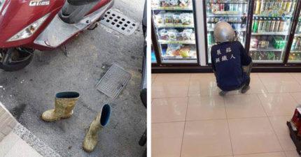 「鋼鐵人」超商門口拖鞋買飲料 淒涼背影惹心疼:因為我怕弄髒地板