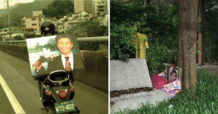公園運動驚見「阿婆遺照」 兒子貼紅紙條:讓民眾怕就好