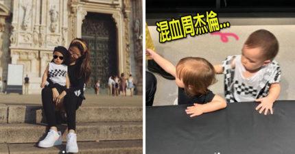 兒子正面直接曝光!兒子Romeo米蘭把妹 昆凌PO照驚呆網友「根本混血版周董」