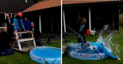 超壞朋友QQ懼高哥「被唬高空跳水」 下秒栽進兒童戲水池...損友直接笑慘