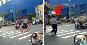 三寶闖紅燈失敗慘摔 警察「零通報秒現身」網療癒:來不及逃跑了