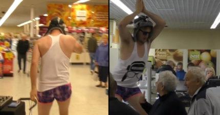 逛超市逛到一半 緊身褲哥跳上收銀機「大跳鯊魚舞」阿公阿嬤傻了:今嘛蕭年郎...