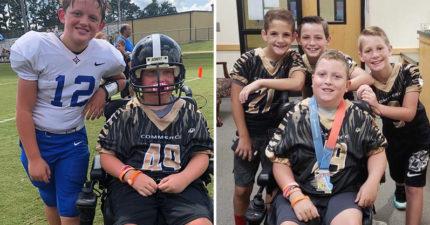 輪椅男孩夢想當「美式足球明星」 同學驚喜幫圓夢...假摔畫面超逼淚!