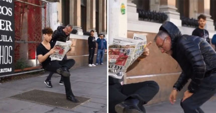 街頭黑魔法?坐在空氣上的男人 「隱形椅子」驚呆路人:他腿到底多有力?