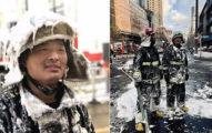 「全身結冰的消防員」太震撼! 他靦腆笑回應記者:我只是戰友們的一個縮影