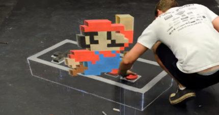 超狂藝術家「粉筆畫出3D」猛圖 路人踩空才發現其實全是平的!