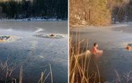 看見落水狗暖男「跳冰湖」搶救 下秒「愛犬跟著一起跳」女主人崩潰:牠還很興奮...