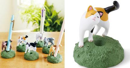 貓奴必收!日推超萌「撒嬌貓咪」筆架 360零死角「尾巴」的設計太療癒❤