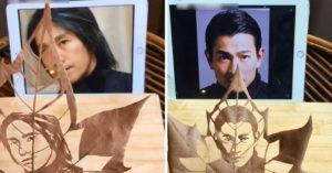 神人用落葉雕出「比用筆畫還完美」的明星肖像 台灣最猛音樂才子被成功複製!