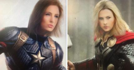 網友把復仇者「男英雄變大正妹」超驚人 「薩諾斯妹」比黑寡婦還美!