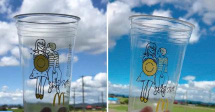 麥當勞推「情侶甜蜜插畫」的透明杯 網友「反轉方向後」竟出現超害羞畫面!