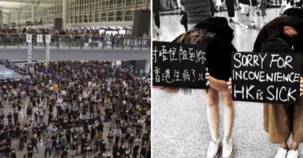 香港反送中阻斷機場「示威者道歉」!淚舉「香港生病了」鞠躬:抱歉造成大家困擾