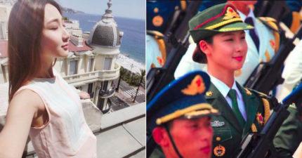 中國最美共軍!遊行模樣讓男粉瘋狂 網起底「超驚人過去」曝光超辣內衣模特照