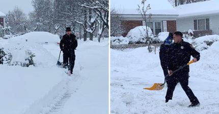 暖警一通電話「幫99歲阿嬤剷雪」 感恩節還「加碼愛心餐」霸氣回:只是小事