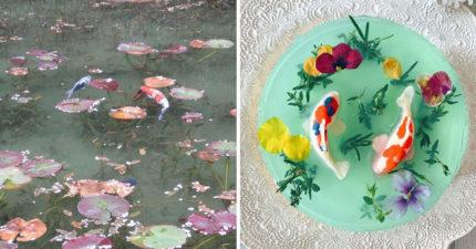 他把「池塘的鯉魚」做成蛋糕  可以「整隻拔出來」有夠舒爽