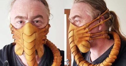 超猛「異形口罩」讓路人自動遠離 關節「緊扣嘴巴」放大看超恐怖