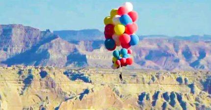 真人版《天外奇蹟》!魔術師「靠52顆氣球」飛上天再一躍而下