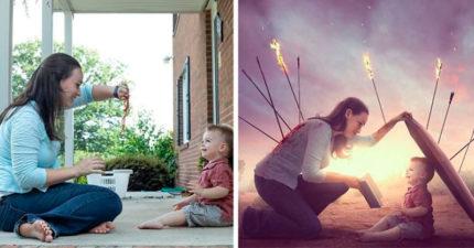 天才爸把普通照片變「電影劇照」 還化身「神力老爸」保護女兒!