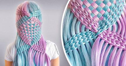 自學美髮師的超夢幻「編織髮藝」 在頭上編出「一張捕夢網」!