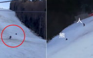 影/滑雪被巨獸狂追 全場急打氣「再快一點...」警讚:判斷正確